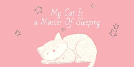 Cute Cat Sleeping in Pink Image Modelo de Design
