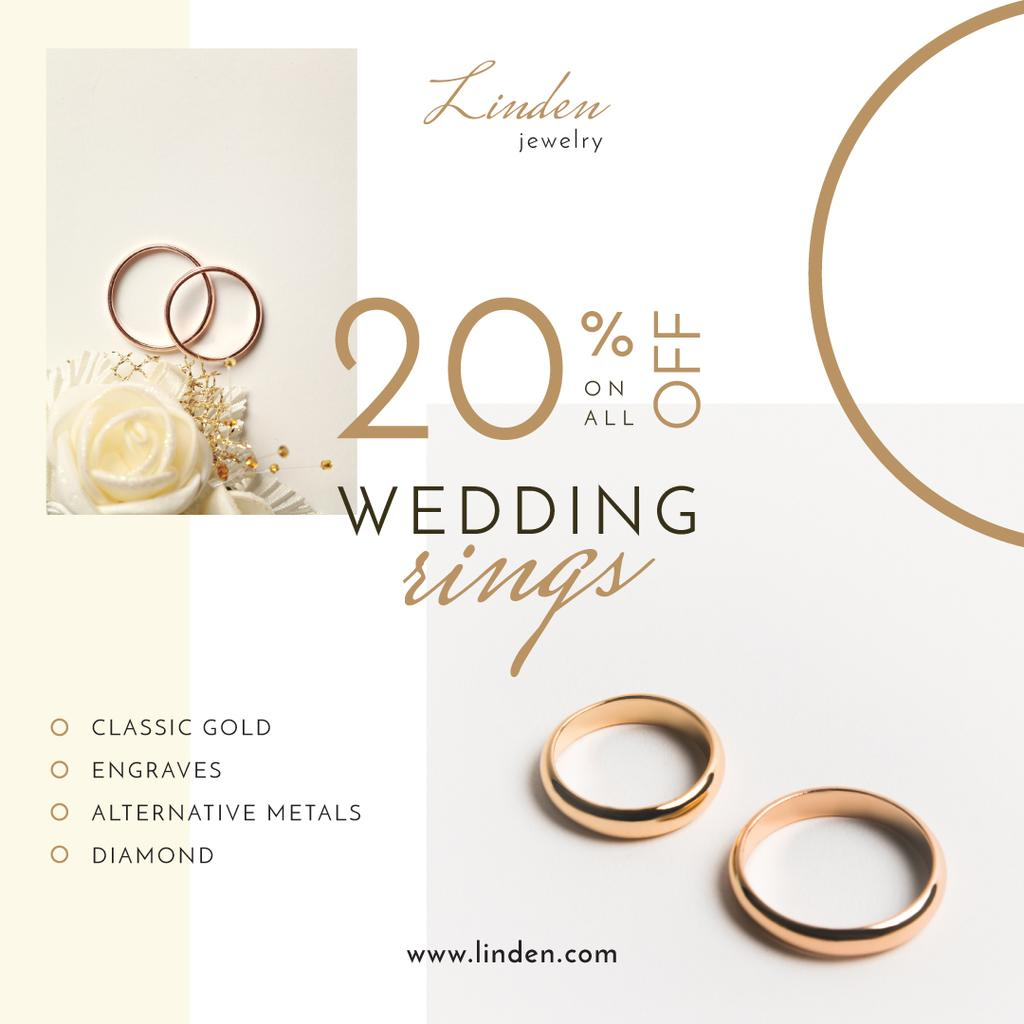 Wedding Offer Golden Rings on White — Modelo de projeto