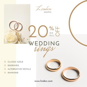 Wedding Offer Golden Rings on White | Instagram Post Template