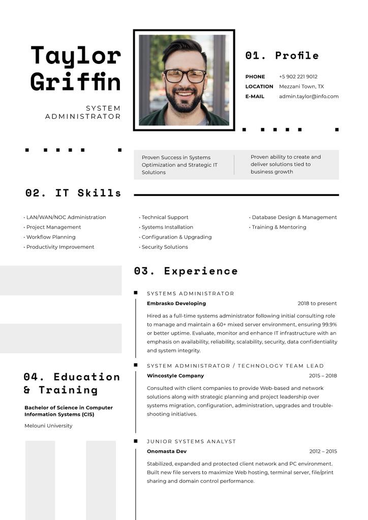 Computer Science skills and experience — ein Design erstellen