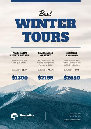 Winter Tour Offer with Snowy Mountains Poster Modelo de Design
