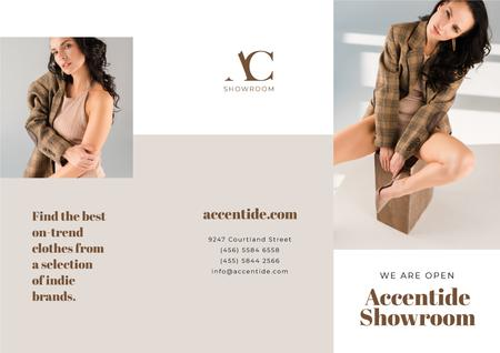 Ontwerpsjabloon van Brochure van Showroom Offer with Woman in Stylish Clothes