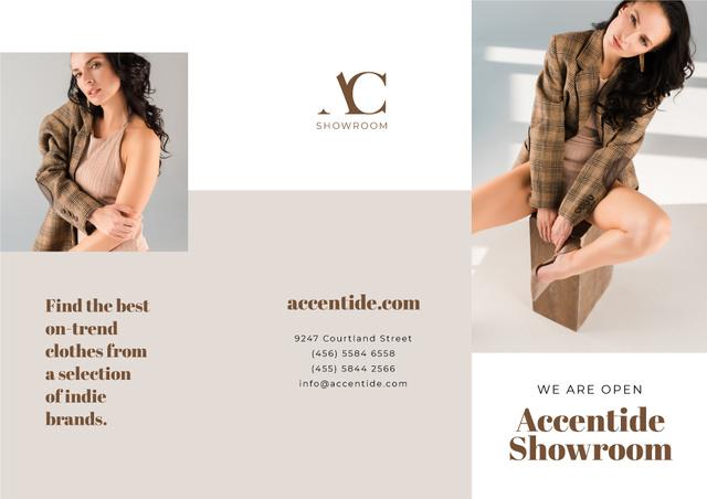Ontwerpsjabloon van Brochure van Showroom Offer with Woman in Stylish Clothes
