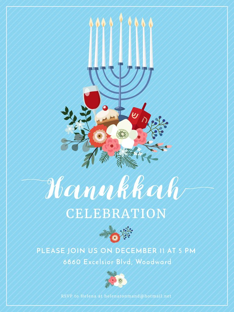 Hanukkah Celebration Invitation Menorah on Blue — ein Design erstellen