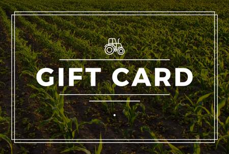 Ontwerpsjabloon van Gift Certificate van Agriculture Equipment Offer with Field and Tractor Icon