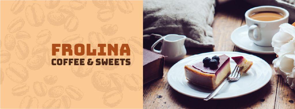 Plantilla de diseño de Cup of Coffee and Cake Facebook cover