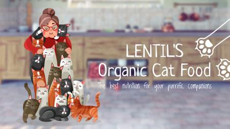 Plantilla de diseño de Cat Food Offer Old Lady with Bunch of Cats Full HD video