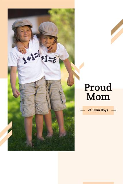 Twins in shirts with equation Pinterest – шаблон для дизайна