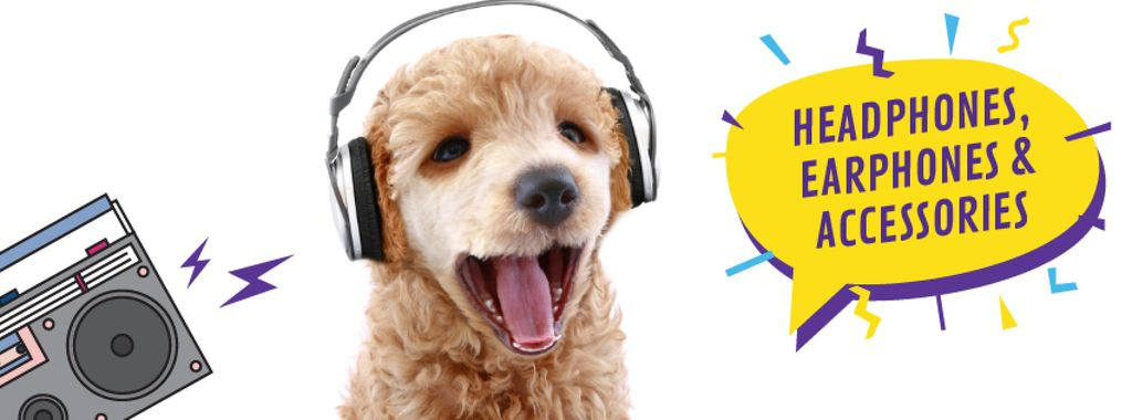 Funny dog with bouncing head listening to music — Crear un diseño