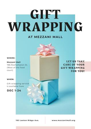 Gift Wrap Offer with Present Boxes with Bows Posterデザインテンプレート