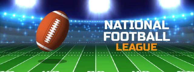 Football Season Announcement with Rugby Ball on Field Facebook Video cover Modelo de Design