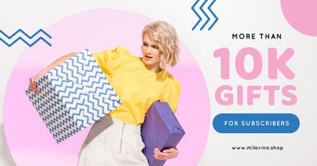 Plantilla de diseño de Blog Promotion Woman Holding Presents Facebook AD