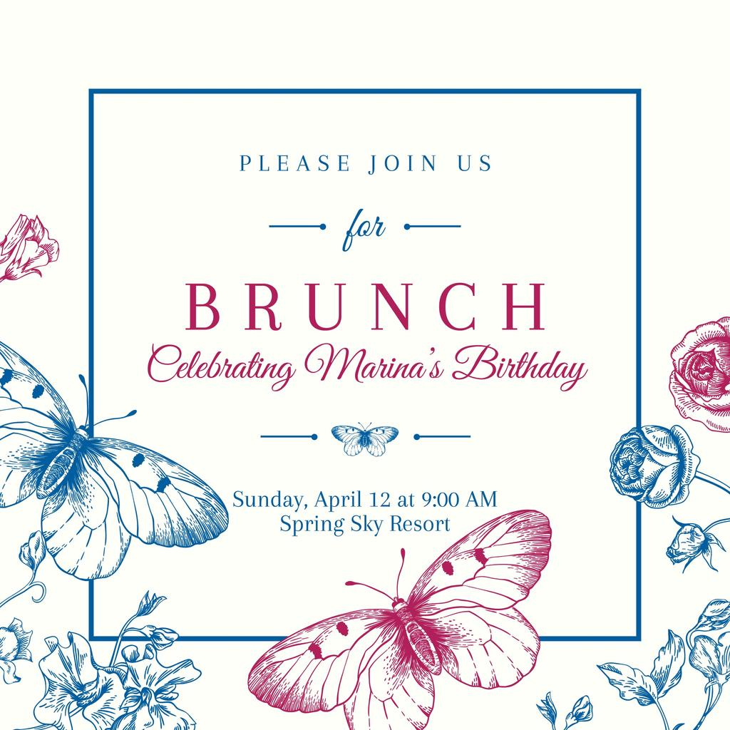 Brunch invitation card Instagram post template — Design Online — Crello
