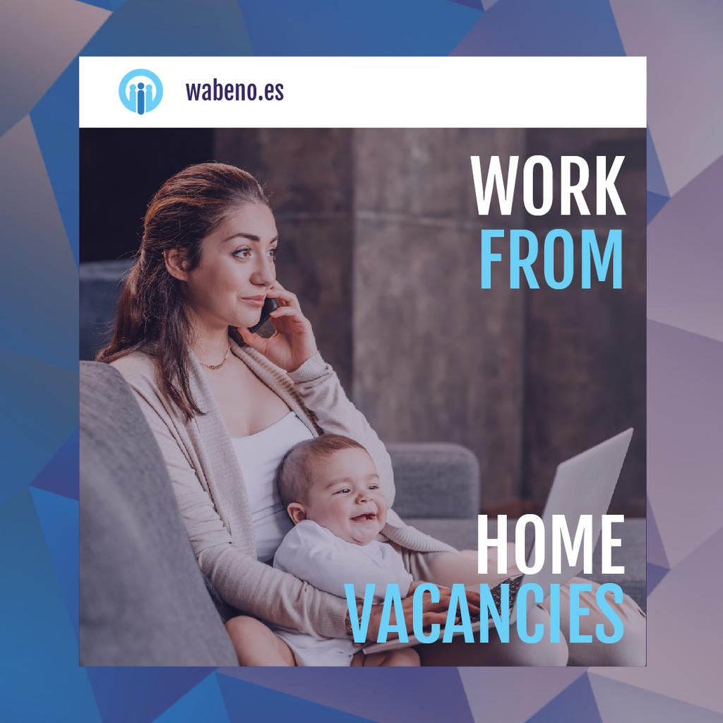 Freelancer Mother Working at Home with Baby — Create a Design