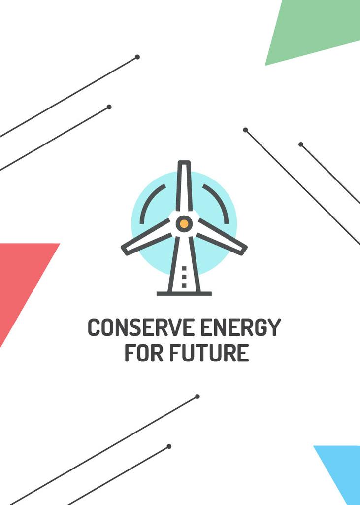 Conserve Energy Wind Turbine Icon — Modelo de projeto