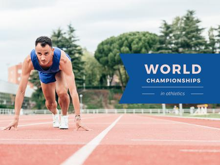 Template di design World Championships Ad with Man at Start Position Presentation