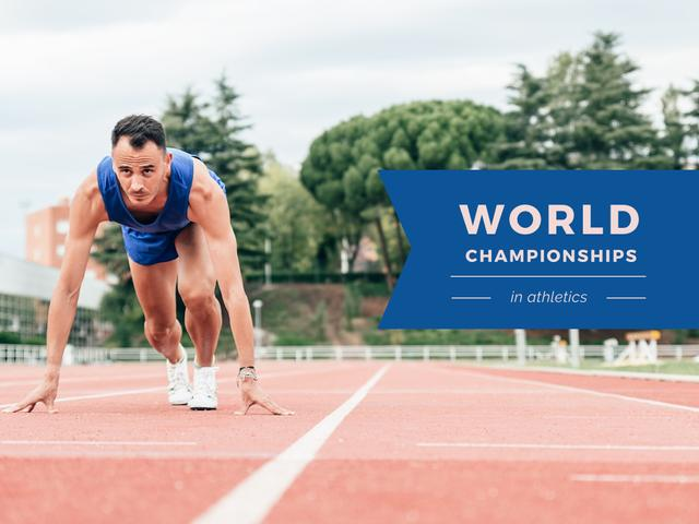 World Championships Ad with Man at Start Position Presentation Design Template