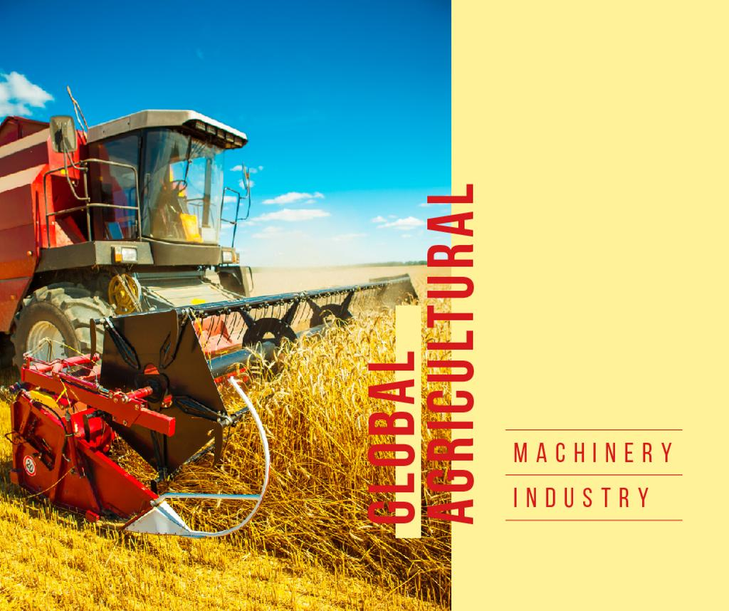 Agricultural Machinery Industry Harvester Working in Field | Facebook Post Template — Создать дизайн
