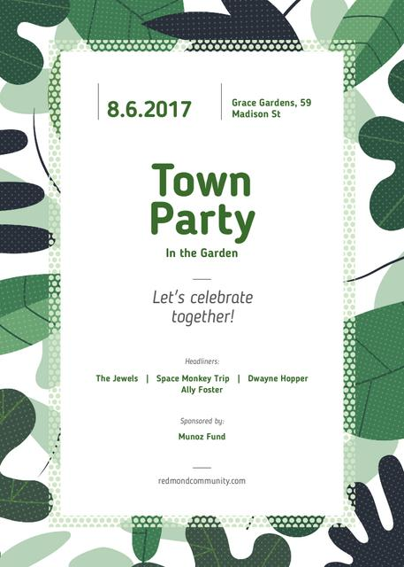 Town Party announcement on Green leaves frame Invitation Tasarım Şablonu