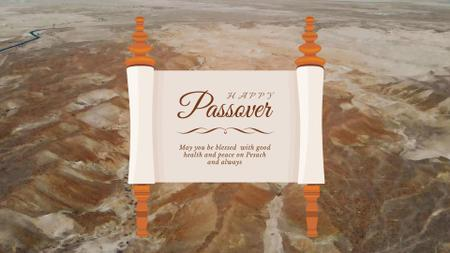 Passover Greeting on Scroll over Desert Full HD video Modelo de Design