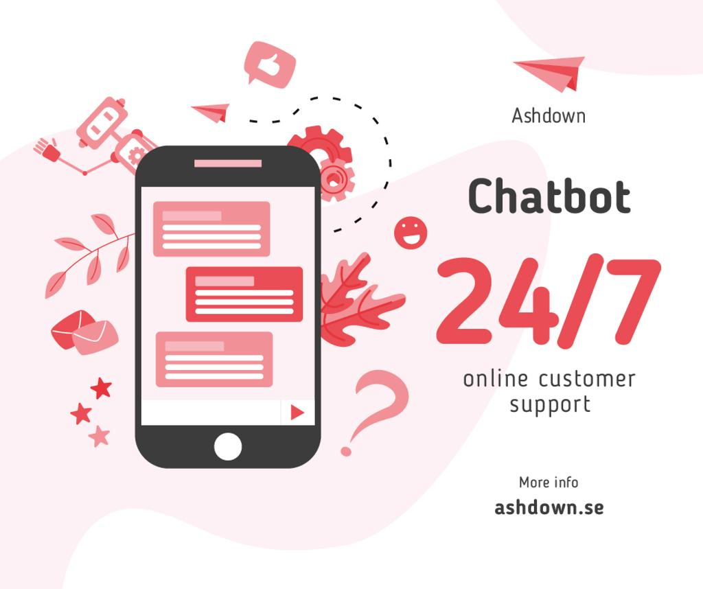 Online Customers Support Chat on Phone Screen — Créer un visuel