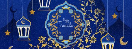 Modèle de visuel Ramadan Kareem Blue Floral frame - Facebook Video cover