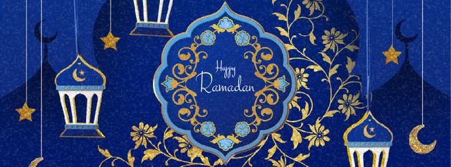 Ramadan Kareem Blue Floral frame Facebook Video cover Modelo de Design