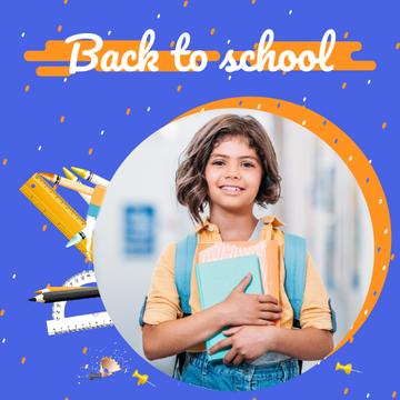Back to School Offer Smiling Schoolgirl with Books | Square Video Template