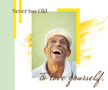 Happiness Quote Laughing Old Man | Facebook Post Template