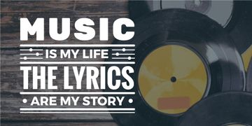music is my life banner with Vinyl music plates