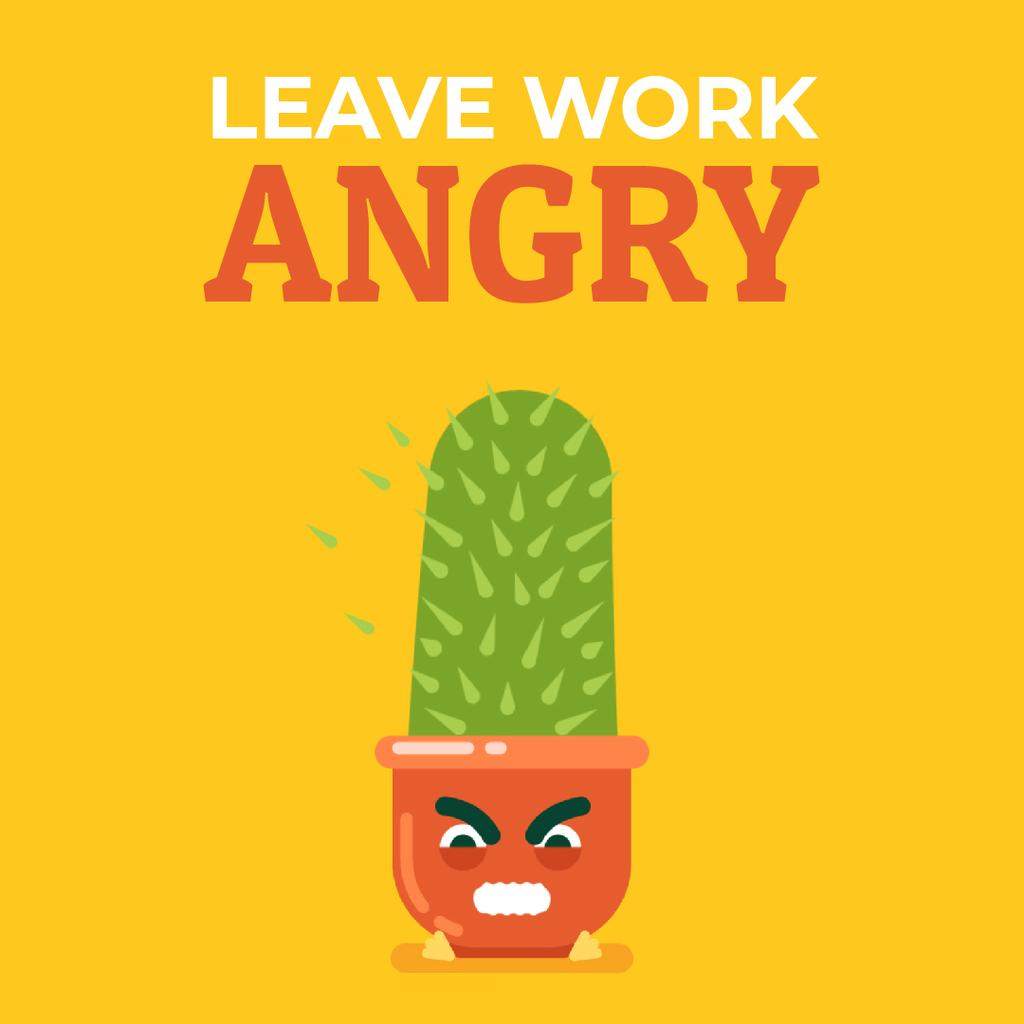 Angry Cactus Cartoon Character — Create a Design