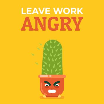 Angry Cactus Cartoon Character | Square Video Template