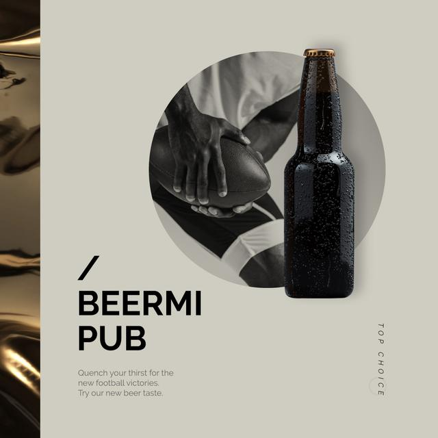 Designvorlage Pub Offer Beer Bottle and Player with Rugby Ball für Animated Post