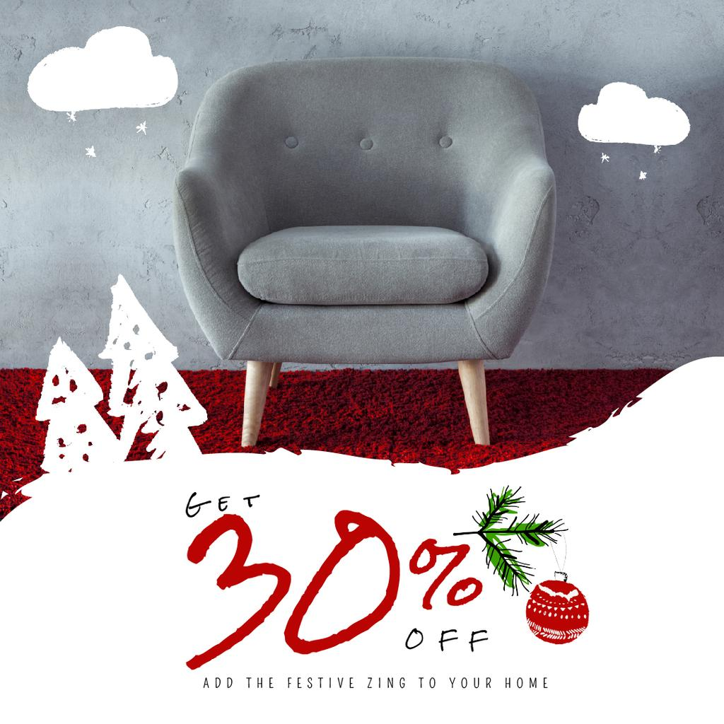 Furniture Christmas Sale with Armchair in Grey — Створити дизайн