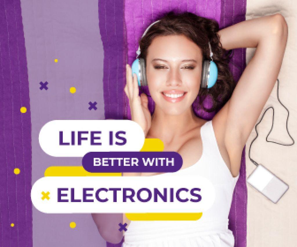 Woman Listening Music on Smartphone — Створити дизайн