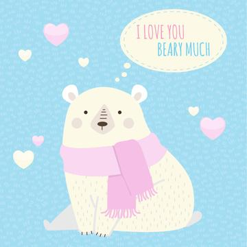 Cute Loving Bear with Hearts