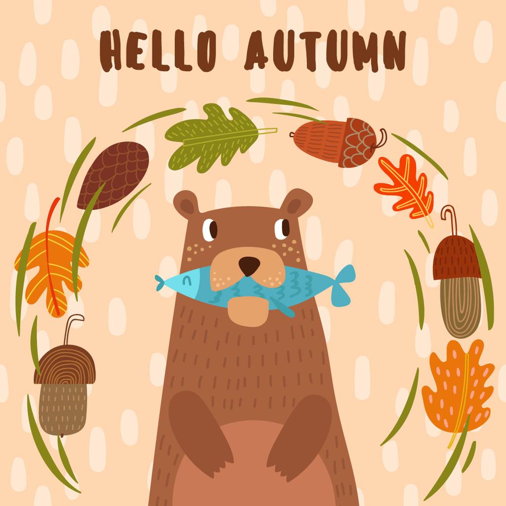 Ontwerpsjabloon van Instagram AD van Bear with Fish in Autumn Frame