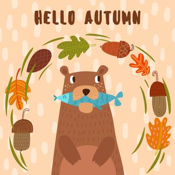 Bear with Fish in Autumn Frame