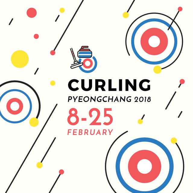 Ontwerpsjabloon van Instagram AD van Winter Olympics Curling in Pyongyang announcement