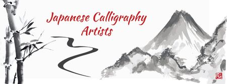 Japanese Calligraphy with Landscape Painting Facebook cover Modelo de Design