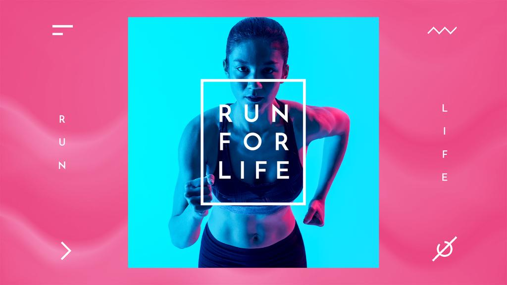 Woman Runner in Neon Light — Crear un diseño