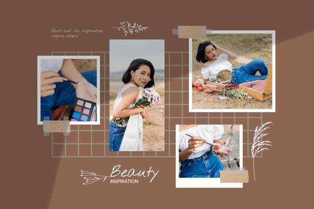 Szablon projektu Woman applying Makeup in natural field Mood Board