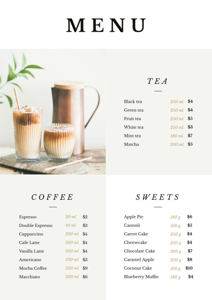 Coffee drinks with milk Menu Tasarım Şablonu