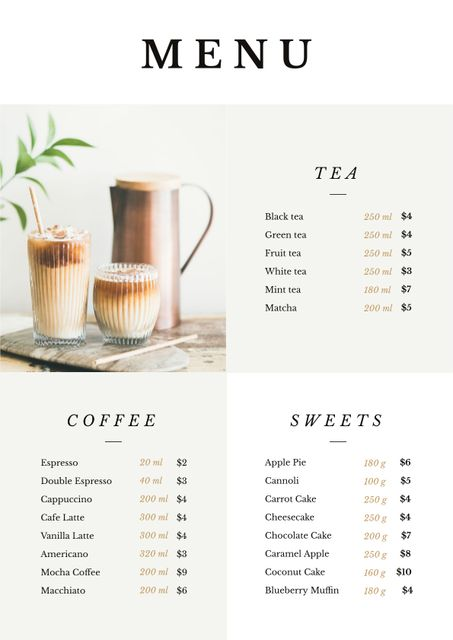 Coffee drinks with milk Menu Design Template