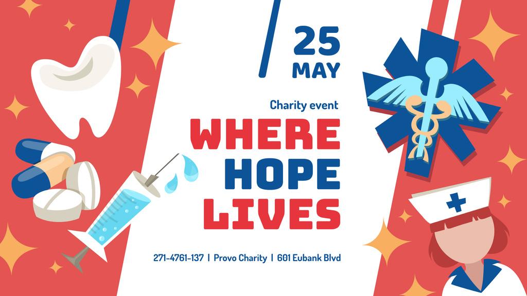 Plantilla de diseño de Medical Charity Events announcement with Healthcare Icons FB event cover