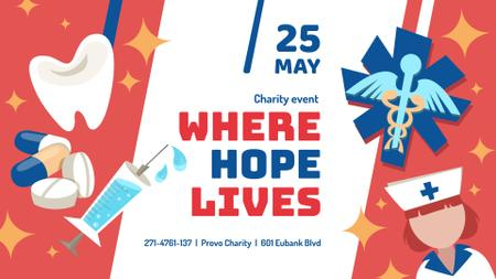 Medical Charity Events announcement with Healthcare Icons FB event cover – шаблон для дизайна
