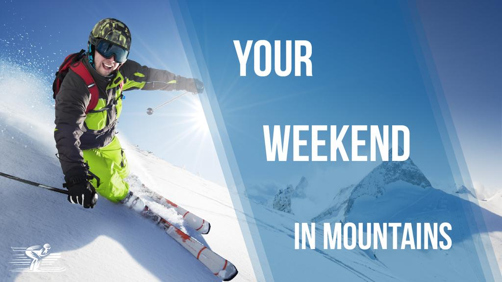 Winter Tour Offer Man Skiing in Mountains | Youtube Thumbnail Template — Crear un diseño