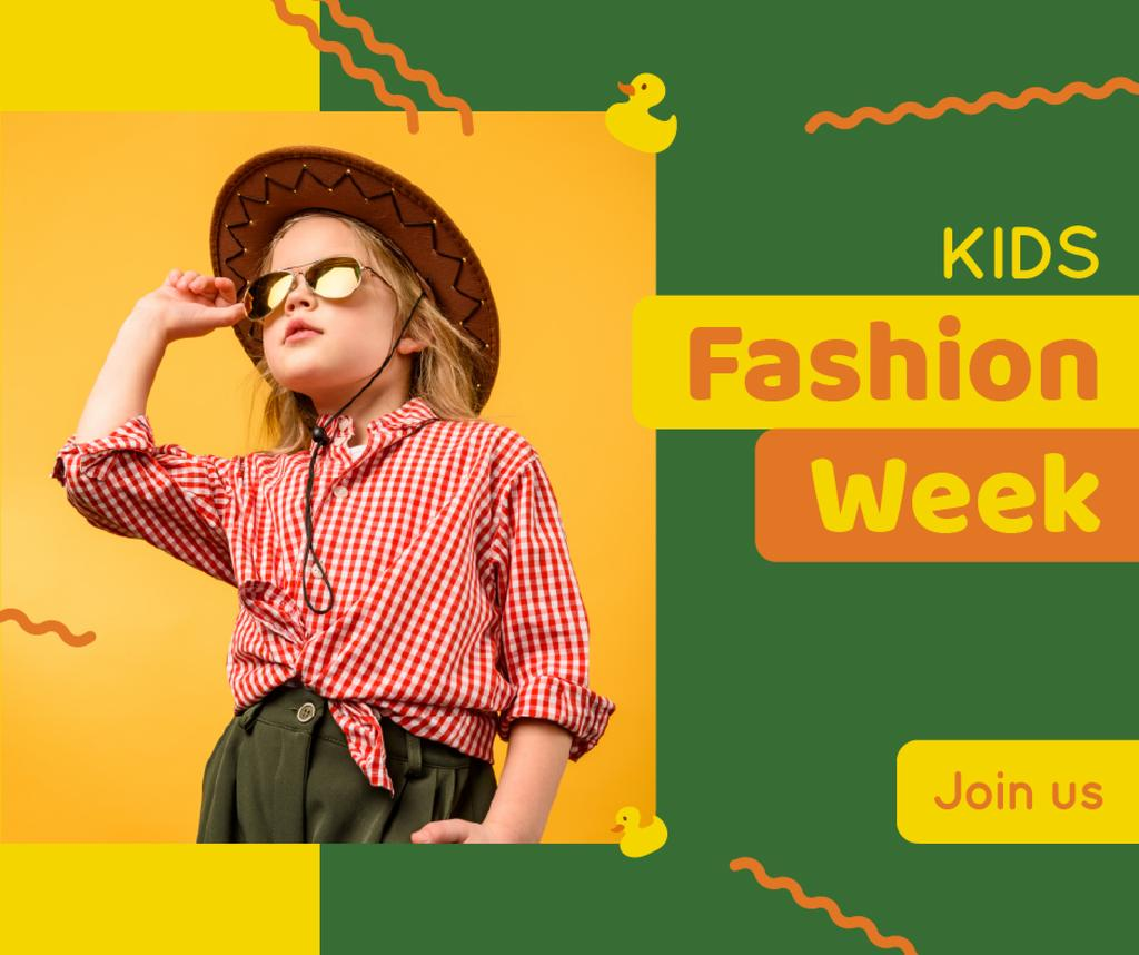 Kids Fashion Week Announcement Stylish Child Girl — Crear un diseño