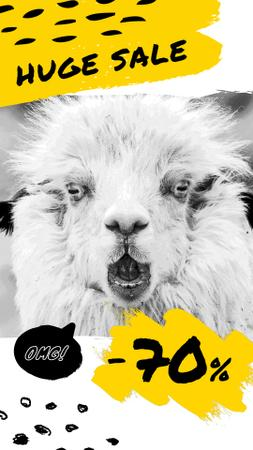 Plantilla de diseño de Sale Announcement Shocked Funny Lama Instagram Video Story
