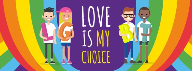 Diverse LGBT couples Facebook cover Design Template